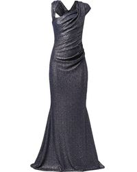 Talbot Runhof Donovan オフショルダー イブニングドレス - ブルー
