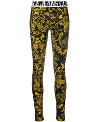Versace Jeans Couture Baroque-print Slim-fit leggings - Black
