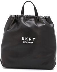 DKNY Logo Print Drawstring Backpack - Black