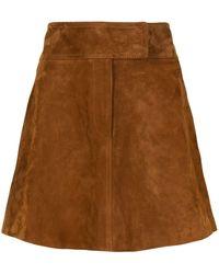 Khaite Aライン レザースカート - ブラウン