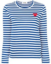 COMME DES GARÇONS PLAY Striped Longlseeved T-shirt - Blue