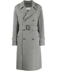 Maison Margiela Пальто С Поясом - Серый