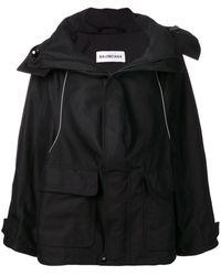Balenciaga スウィング パーカーコート - ブラック