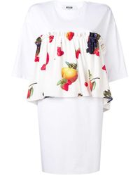 MSGM プリント ドレス - ホワイト