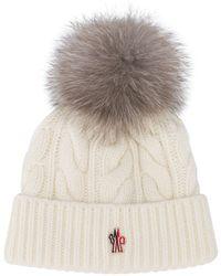 8399a5e9e Fox Fur Pom Pom Beanie Hat - White
