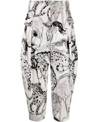 Stella McCartney Rosalinda Horse-print Tapered Pants - Black