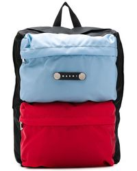 Marni Logo Patch Colour-block Backpack - Black