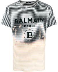 Balmain - ストライプ ロゴ Tシャツ - Lyst