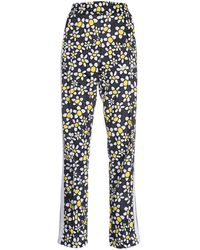 Palm Angels Floral-print Zipped-cuff Trousers - Black