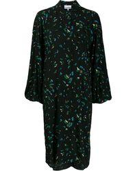 Ganni Платье-рубашка С Цветочным Принтом - Черный