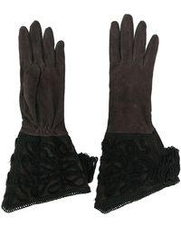 Giorgio Armani Halflange Versierde Handschoenen - Bruin