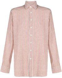 Lardini Рубашка В Вертикальную Полоску - Коричневый