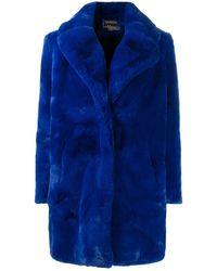 Apparis Single-breasted Faux Fur Coat - Blue