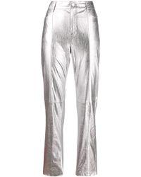 Karl Lagerfeld - Брюки Прямого Кроя С Эффектом Металлик - Lyst