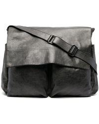 Numero 10 Leather Flap Messenger Bag - Black