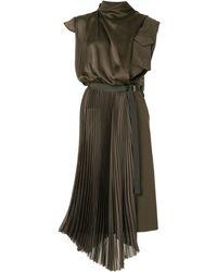 Sacai Asymmetric Satin Military Dress - Green