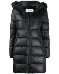 Calvin Klein フーデッド ダウンコート - ブラック