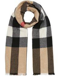 cfec48adb9e31 Burberry Fringed Check Wool Cashmere Scarf - Multicolor