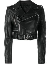 Manokhi Укороченная Байкерская Куртка - Черный