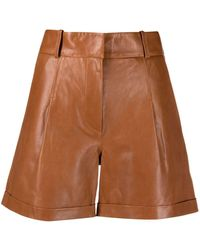 Arma High-waisted Leather Shorts - Brown