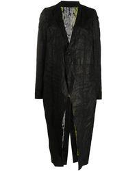 Rick Owens Длинное Пальто С Жатым Эффектом - Черный