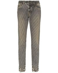 Filles A Papa Crystal-stripe Distressed Jeans - Grey