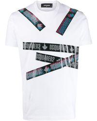 DSquared² T-shirt Met Logoband - Wit