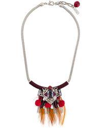 Rada' Feather Pendant Necklace - Metallic