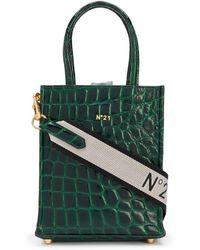 N°21 Nano Crocodile-effect Logo Shopper - Green