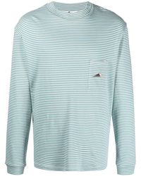 Anglozine Striped Long-sleeved T-shirt - Blue
