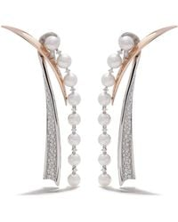 Tasaki 18kt White Gold Diamond Waterfall Earrings - Metallic