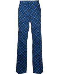 adidas チェック パンツ - ブルー