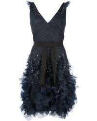 Marchesa notte Glitter-effect Tulle Mini Dress - Blue