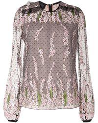 Giambattista Valli Полупрозрачная Блузка С Цветочной Вышивкой - Черный
