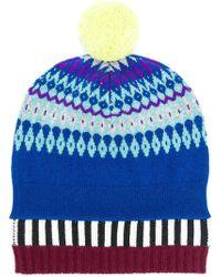 Burberry - Fair Isle Pompom Beanie Hat - Lyst