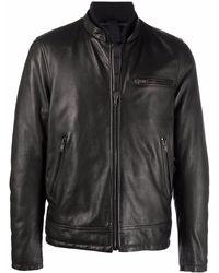 Orciani Lederjacke mit Reißverschlusstaschen - Schwarz