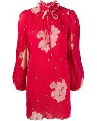 Ganni Платье Мини С Цветочным Принтом - Красный
