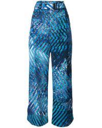 Issey Miyake - Printed Wide-leg Trousers - Lyst