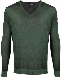 Avant Toi Marl-knit V-neck Sweater - Green