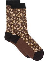 Burberry モノグラム 靴下 - ブラウン