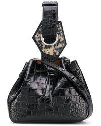 Ganni Embossed Bucket Tote - Black