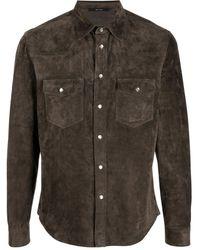Tom Ford ボタン レザーシャツ - マルチカラー