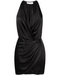 Michelle Mason ホルターネック シルクミニドレス - ブラック