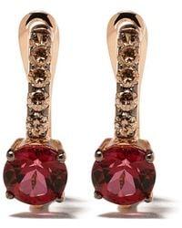 Brumani 18kt Rose Gold Manaca Diamond And Topaz Hoops - Pink