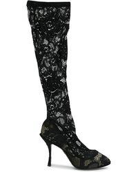 Dolce & Gabbana Прозрачные Кружевные Сапоги - Черный