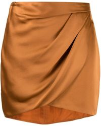 Michelle Mason ドレープ ミニスカート - オレンジ