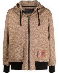 COACH All-over Logo Hoodie - Brown