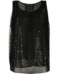 Emporio Armani Sequin-embroidered Sleeveless Blouse - Black