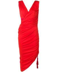 Lanvin - Ruched Midi Dress - Lyst
