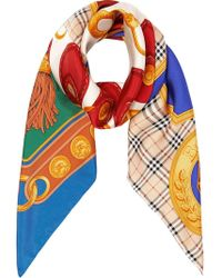 Burberry - Patchwork Archive Scarf Print Silk Square Scarf - Lyst